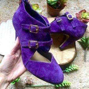 {Bella Vita} Purple Suede Buckle Strap Heels, 8